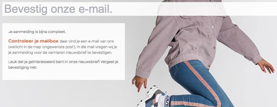 Bedankpagina voorbeeld: e-mail bevestiging