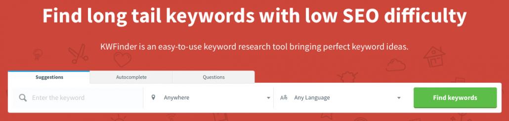 zoekwoordonderzoek tool kwfinder