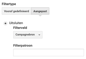Google Analytics filter met de campagnebron