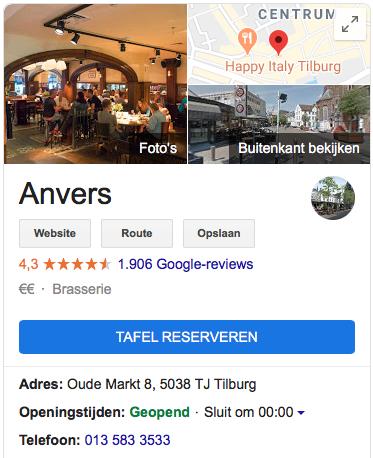 google my business voorbeeld voor lokale seo
