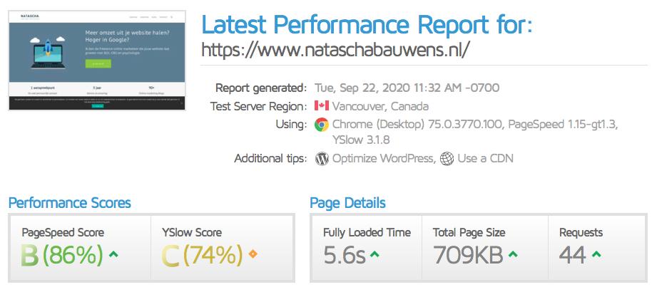 website snelheid testen: GTmetrix voorbeeld