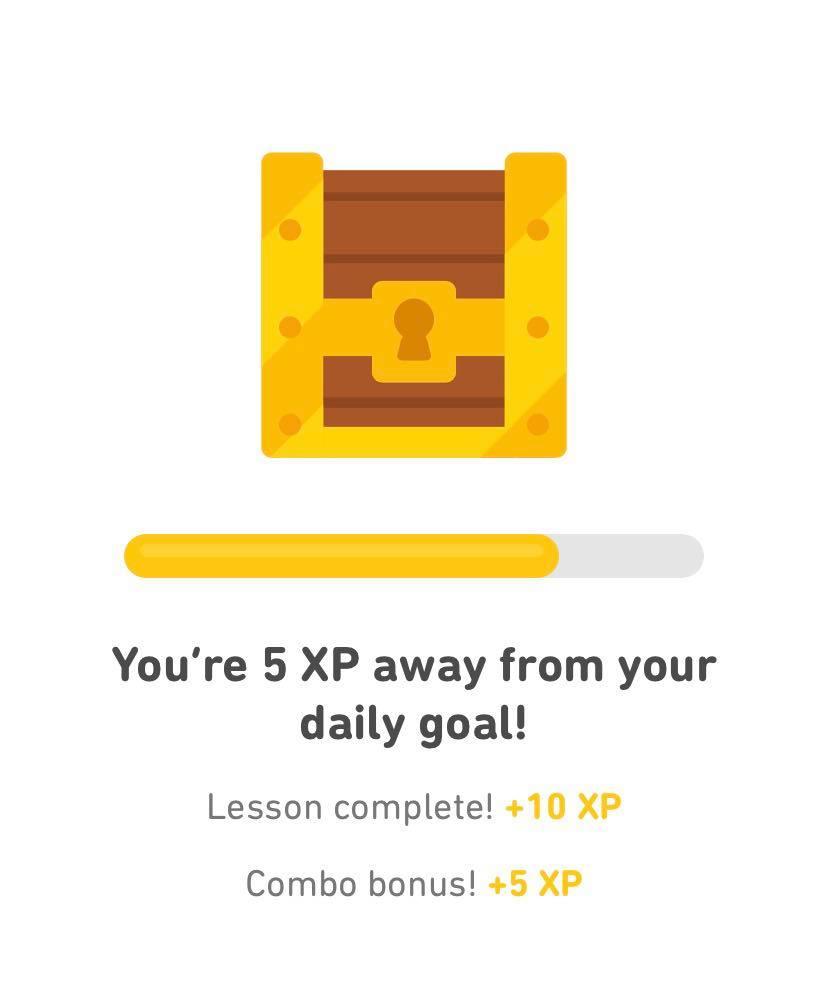 Gamificatie voorbeeld van het spaarprogramma van de Duolingo.